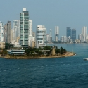 Hi-rise buildings of El Laguito district in the foreground and cityscape seen from seaward. Cartagena, Colombia