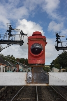 Red lamps and Signals at railway at Grosmont