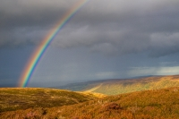 Rainbow over North Yorkshire moors on the Great Fryup Dale