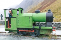 Maddie playing trains at the Honister Slate Mine