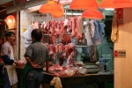 Meat stall at local market in Hong Kong