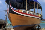 Local ship yard repairing traditional boats in Maldives Indian Ocean